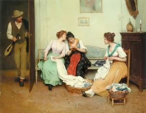 The Friendly Gossips by Eugene de Blaas